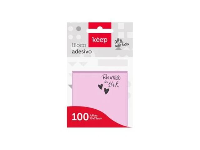 Bloco Adesivo Keep EI021 75x75mm Rosa 100Fls - 2