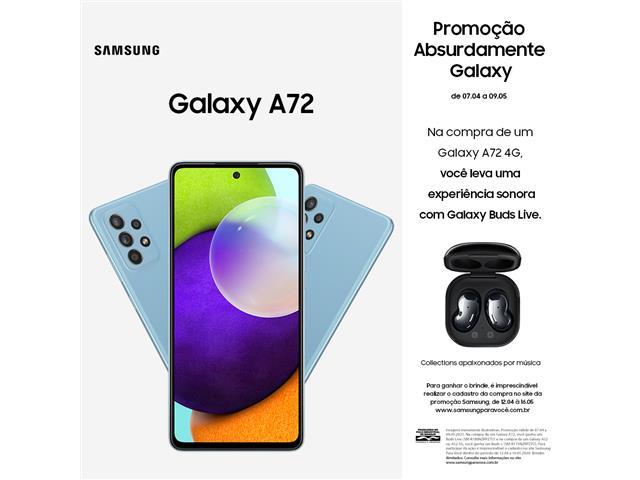 "Smartphone Samsung Galaxy A72 4G 128GB 6.7"" QuadCâm 64+12+8+5MP Azul"