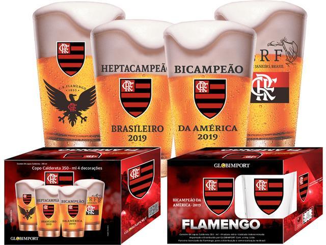 Jogo de Copos Flamengo Heptacampeão 4 Peças de 350ML