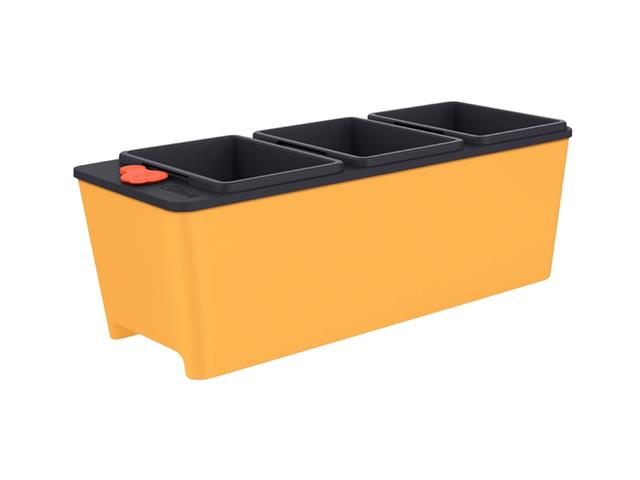 Vaso Autoirrigável Triplo Tramontina em Polipropileno Amarelo 10Litros