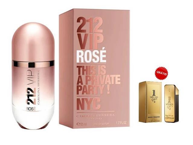 Perfume CarolinaHerrera 212 VIP Rosé 50ML Grátis Miniatura1Million 5ML