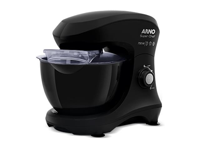 Batedeira Planetária Arno Super Chef 700W 5 Litros 15 Vel Preta