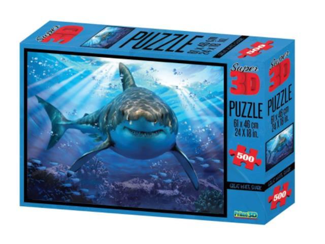 Quebra Cabeça Super 3D Multilaser BR1054 Modelo Tubarão 500 Peças