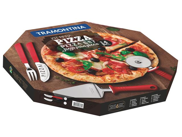 Kit para Pizza Tramontina Vermelho 14 Peças - 1