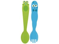 Jogo de Talheres Infantil Tramontina Monster Baby 2 Peças Azul e Verde