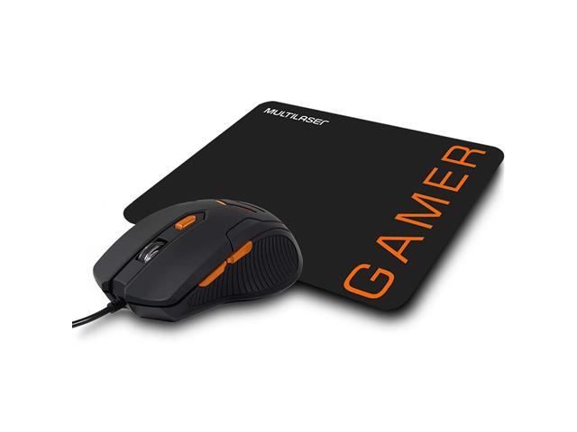 Mouse Gamer Multilaser 3200DPI 6 Botões Preto/Laranja com Mouse Pad