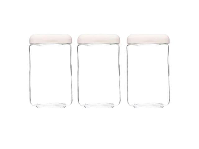 Kit de Potes Vidro Invicta Tendenza 1,3 Litros Quadrado Branco
