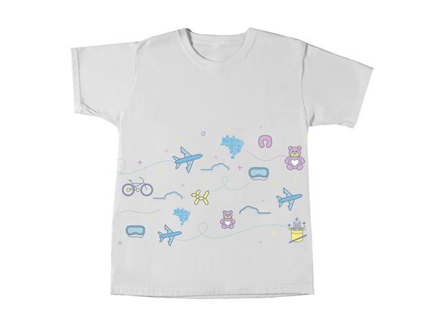 Camiseta Infantil Azul Collection - Coleção Viagens 2 anos