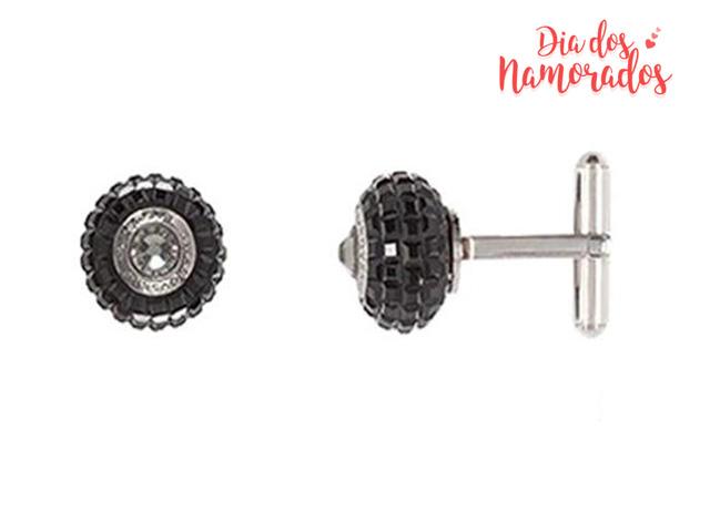 Abotoadura DSE decorada com cristais da Swarovski® preto