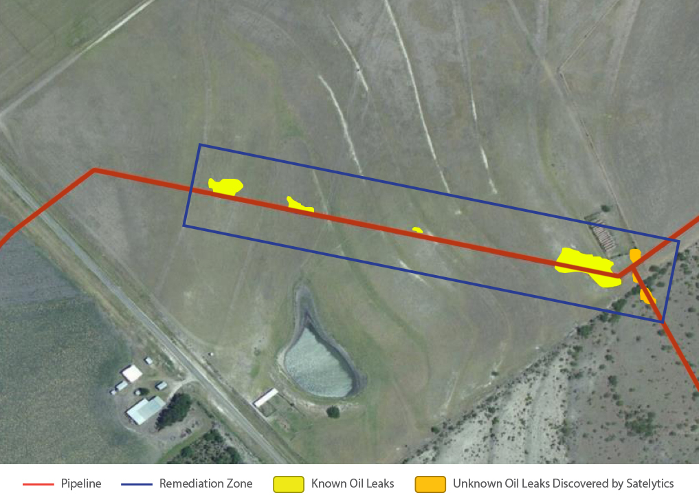 In October 2015, the operator was aware of only four leaks. Red represents the eight-inch buried transmission line. The leaks the operator was aware of are highlighted in yellow. The blue rectangle represents the multi-million dollar remediation. Two leaks, highlighted in orange, that had gone undetected by visual inspection by the operator, were discovered by Satelytics.