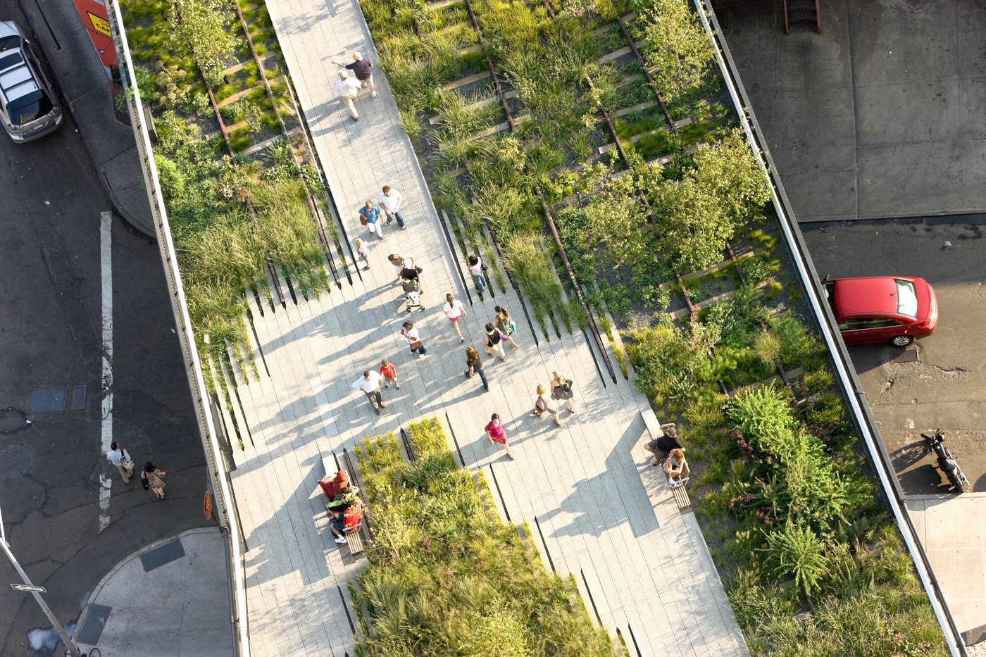 The New York City High Line: a converted elevated rail system now boasting a verdant, green walkway snaking through the harsh urban landscape while also helping to collect and retain storm water.