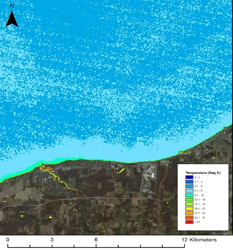 Fig. 3: Processed image showing temperature of Lake Erie West of Lorain, OH on April 1, 2010.