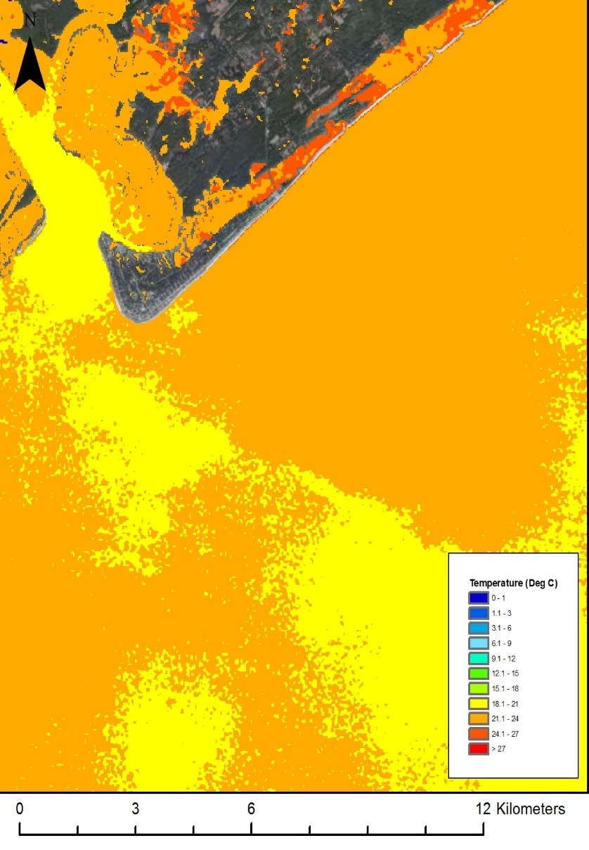 Fig. 4: A processed image showing temperature of the Atlantic Ocean near Edisto Island on August 5, 2011