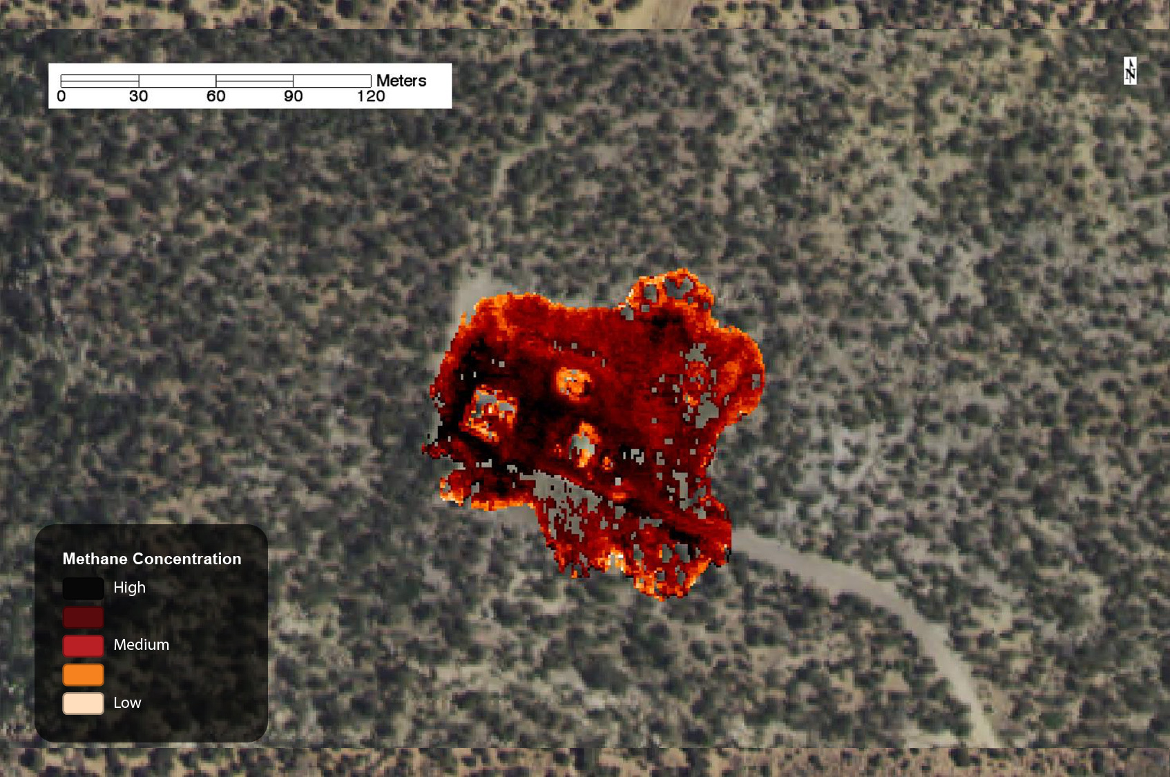 Methane leak on well pad, captured by AVIRIS in 2015.