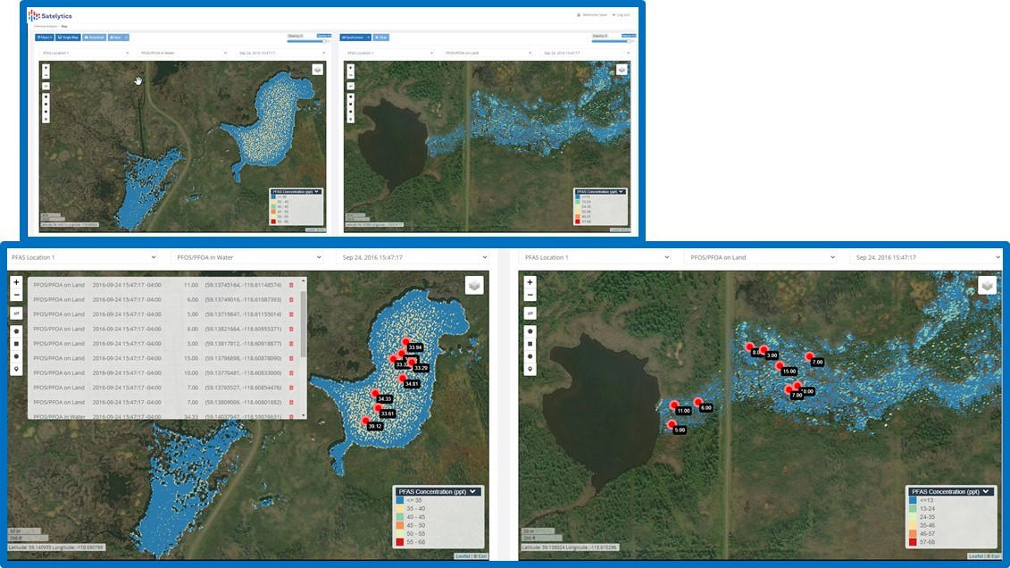 Figure 3.PFAS compounds measure on land and water, EVERY PIXEL EVERY TIME, even extract data points to feed other software and reporting applications.