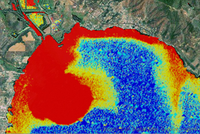 Phosphorus problem in Clear Lake California Watershed. Red is high. Dark blue is low.