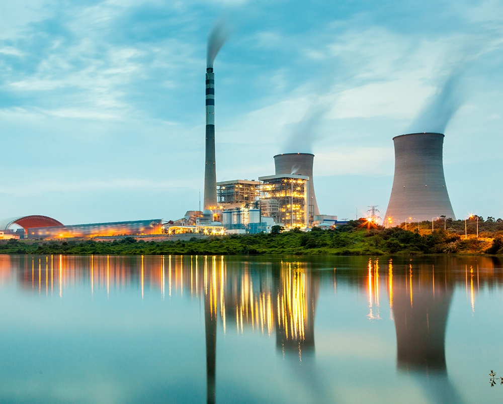 Power stations are built on coastlines or rivers to take advantage of an abundant supply of coolant.