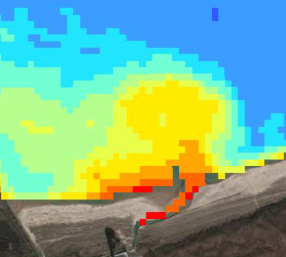 Visualization of a thermal plume in Satelytics. This plume is given off of a power station discharge channel.