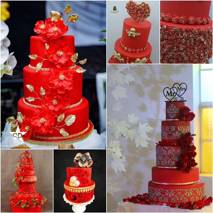 Red Wedding Cakes Satin Ice