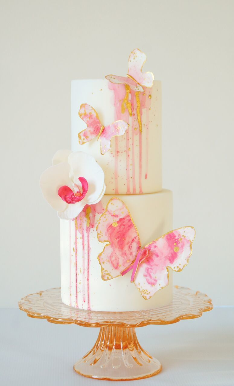 Pink and White Butterfly cake
