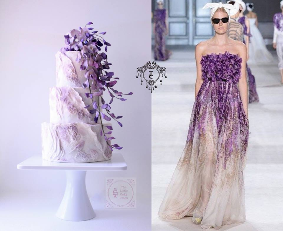 Purple ombre fashion fondant cake