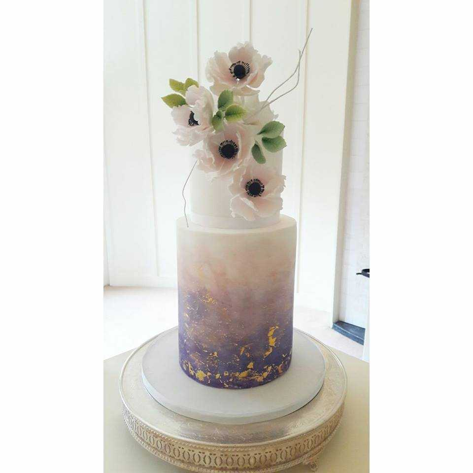 Watercolour Blossom wedding cake