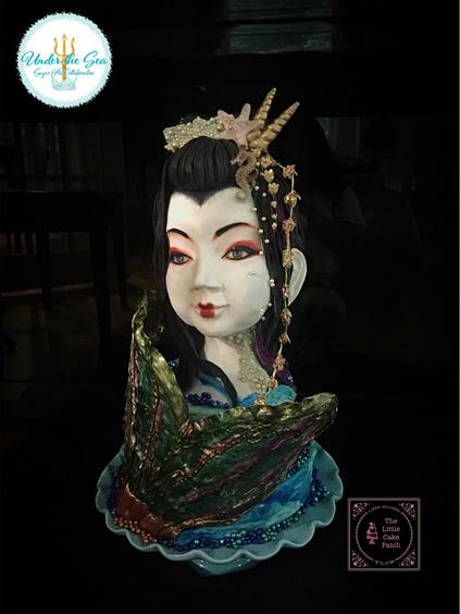 Japanese mermaid fondant bust cake