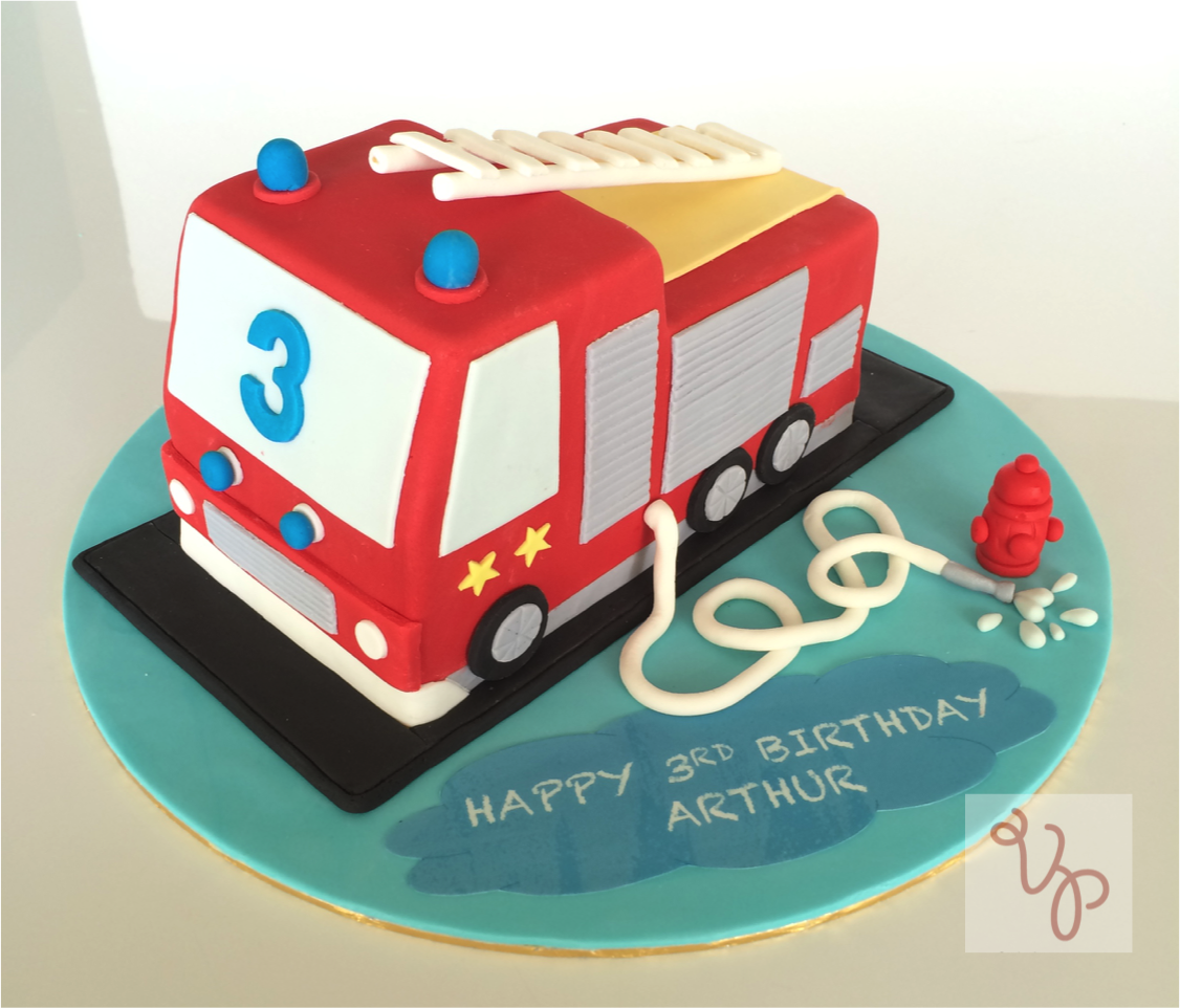 Fire truck shaped birthday cake