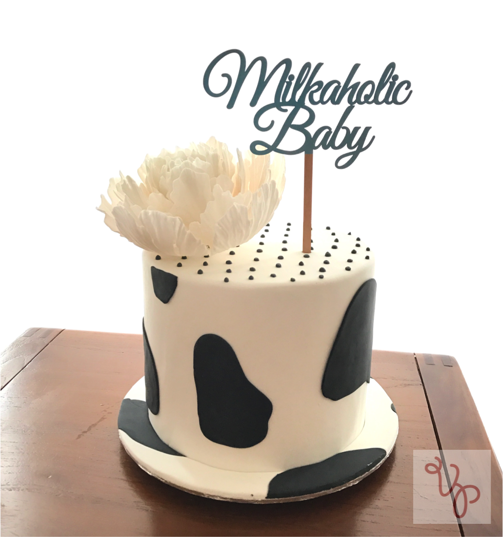 Black and white cow patterned baby cake