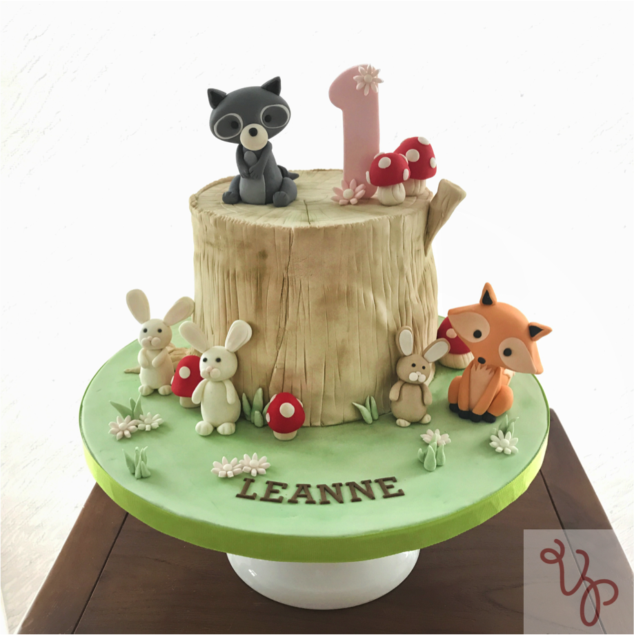 Woodland first birthday cake