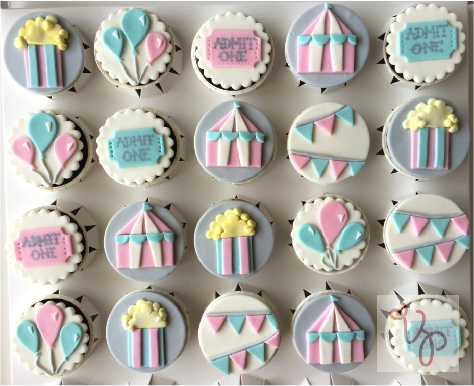 Circus themed cupake toppers