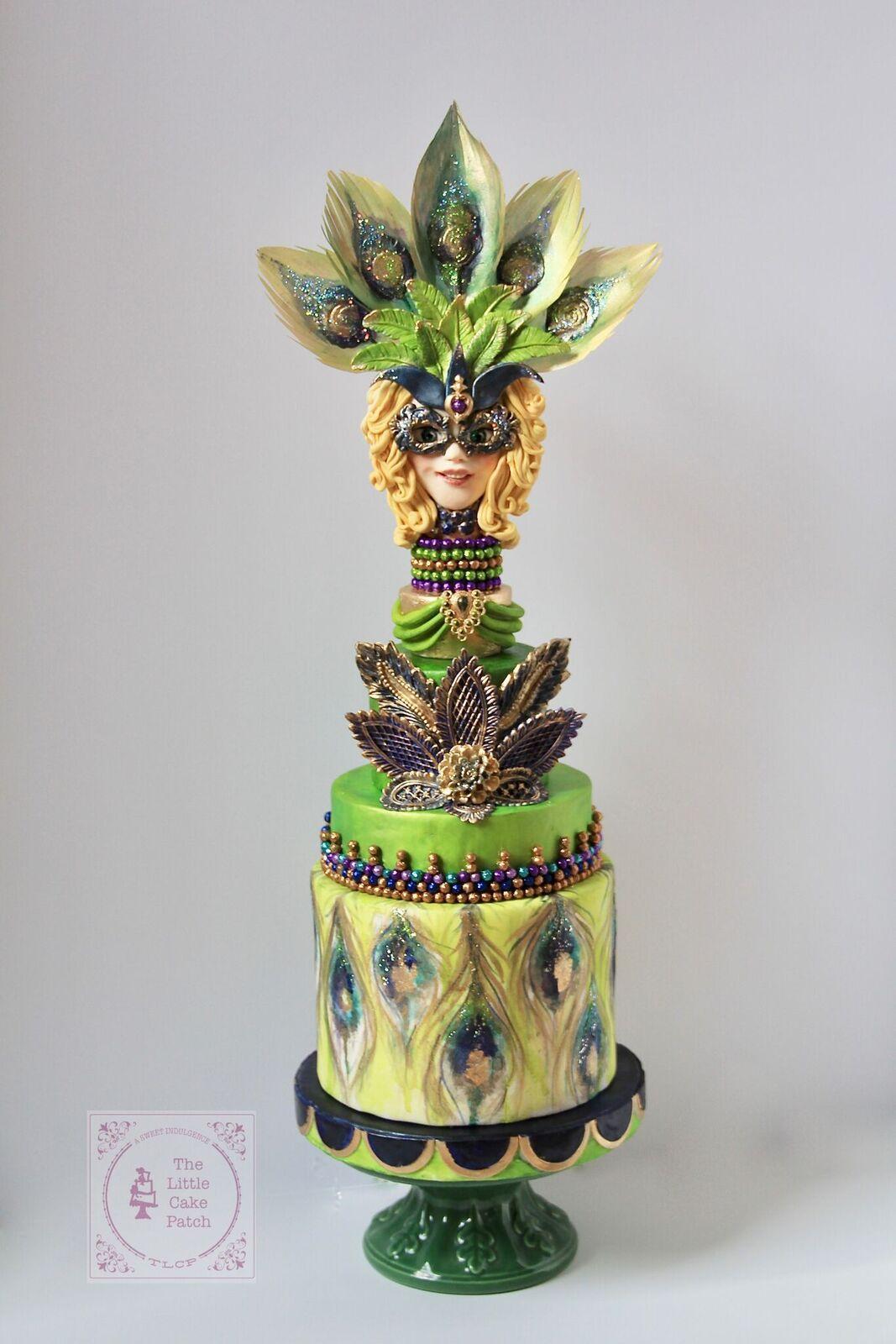 Mardi Gras fondant cake