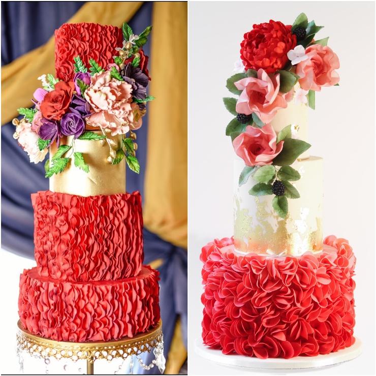 Red Wedding Cakes Satin Ice