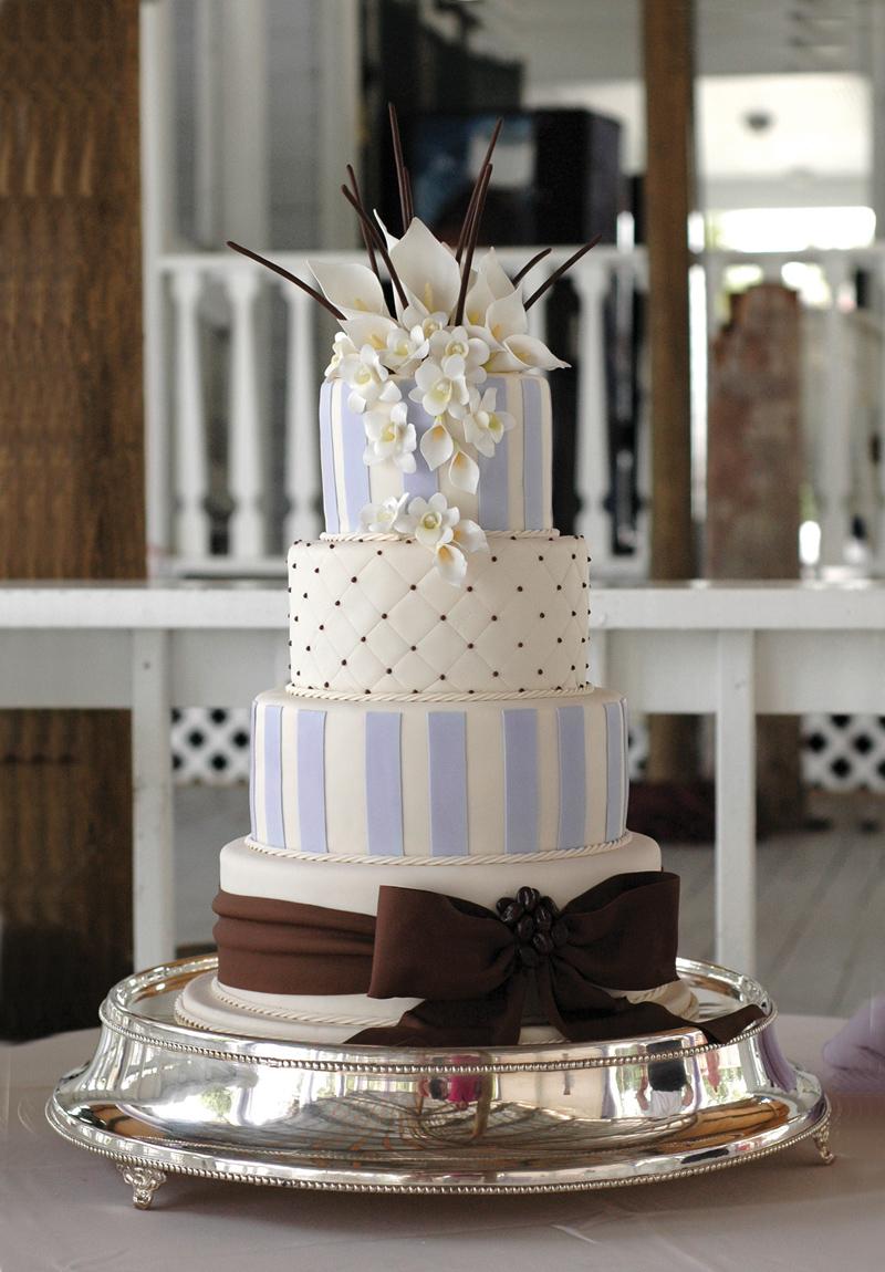 Light blue and white striped fondant wedding cake