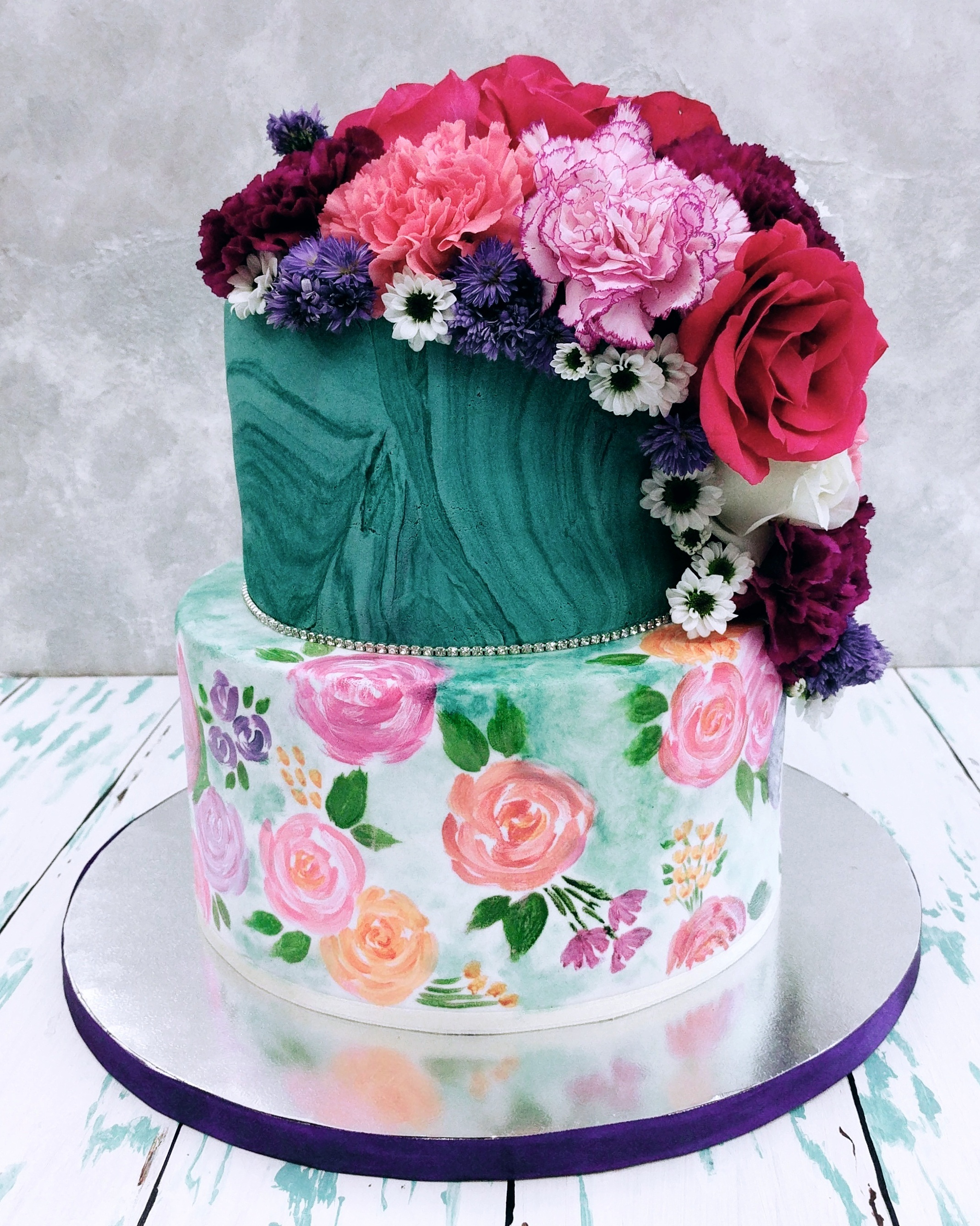 Teal with hand handprinted pink flowers and sugar flowers