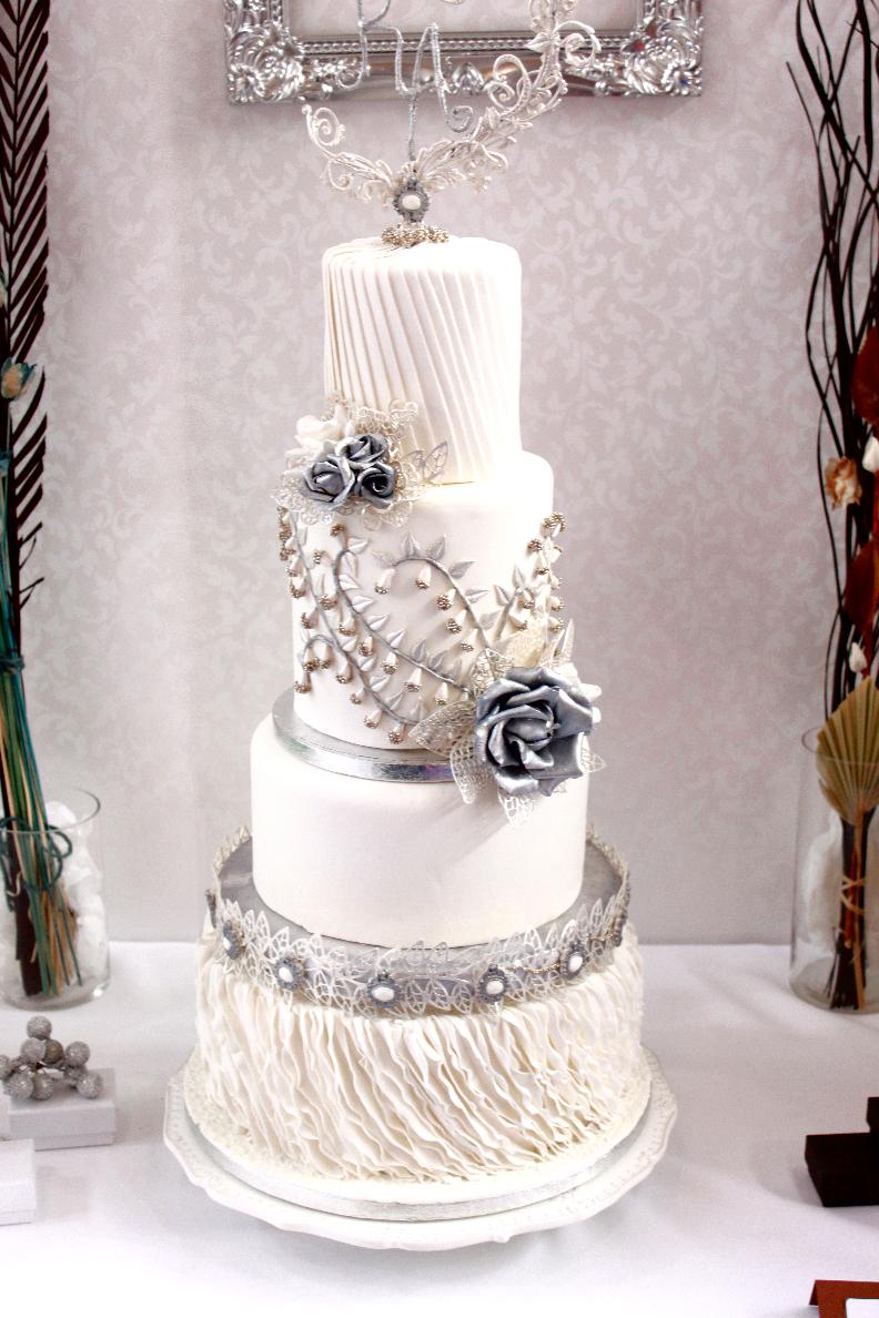 White and silver fondant  wedding cake