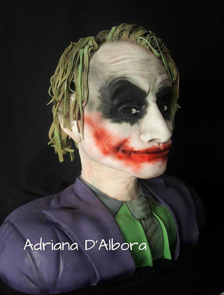 Joker sculpted fondant bust cake