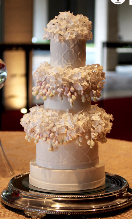 Gray Wedding with ivory sugar flowers