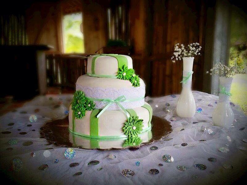 White & Green Wedding