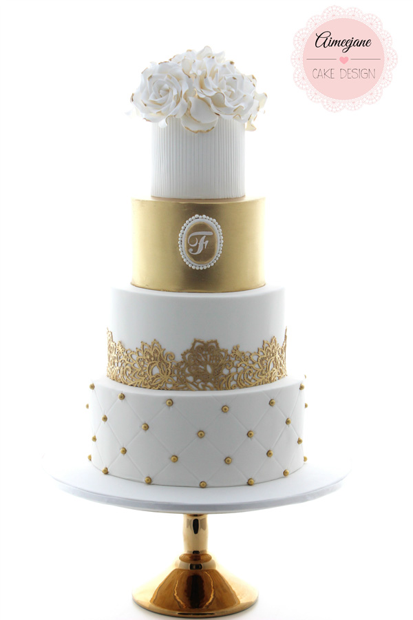Gold Accent Wedding Cake