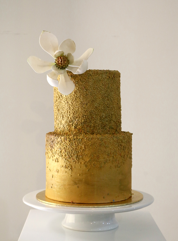 Gold fondant wedding cake