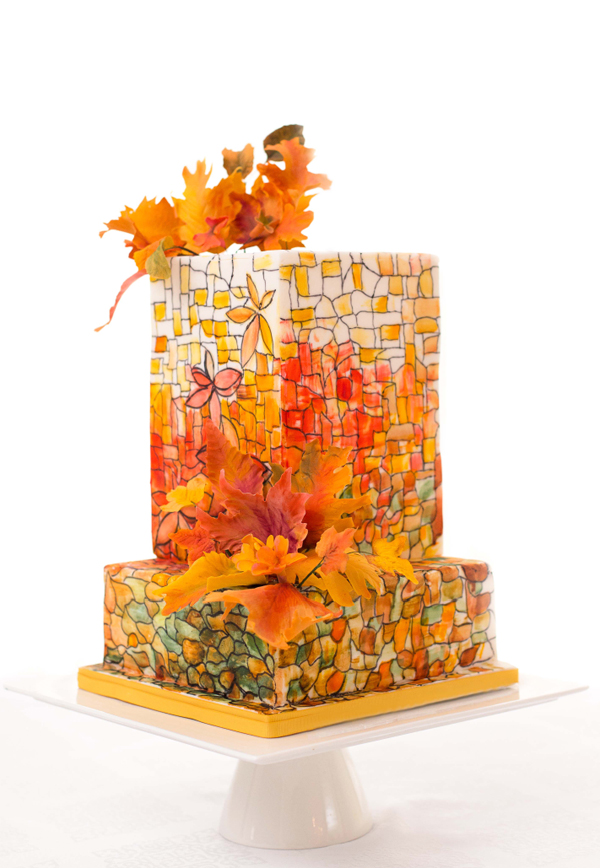Orange Square stained glass effect fondant Wedding Cake
