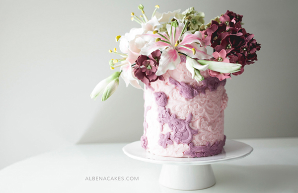 Mini Lavender Wedding Cake with bas-relief