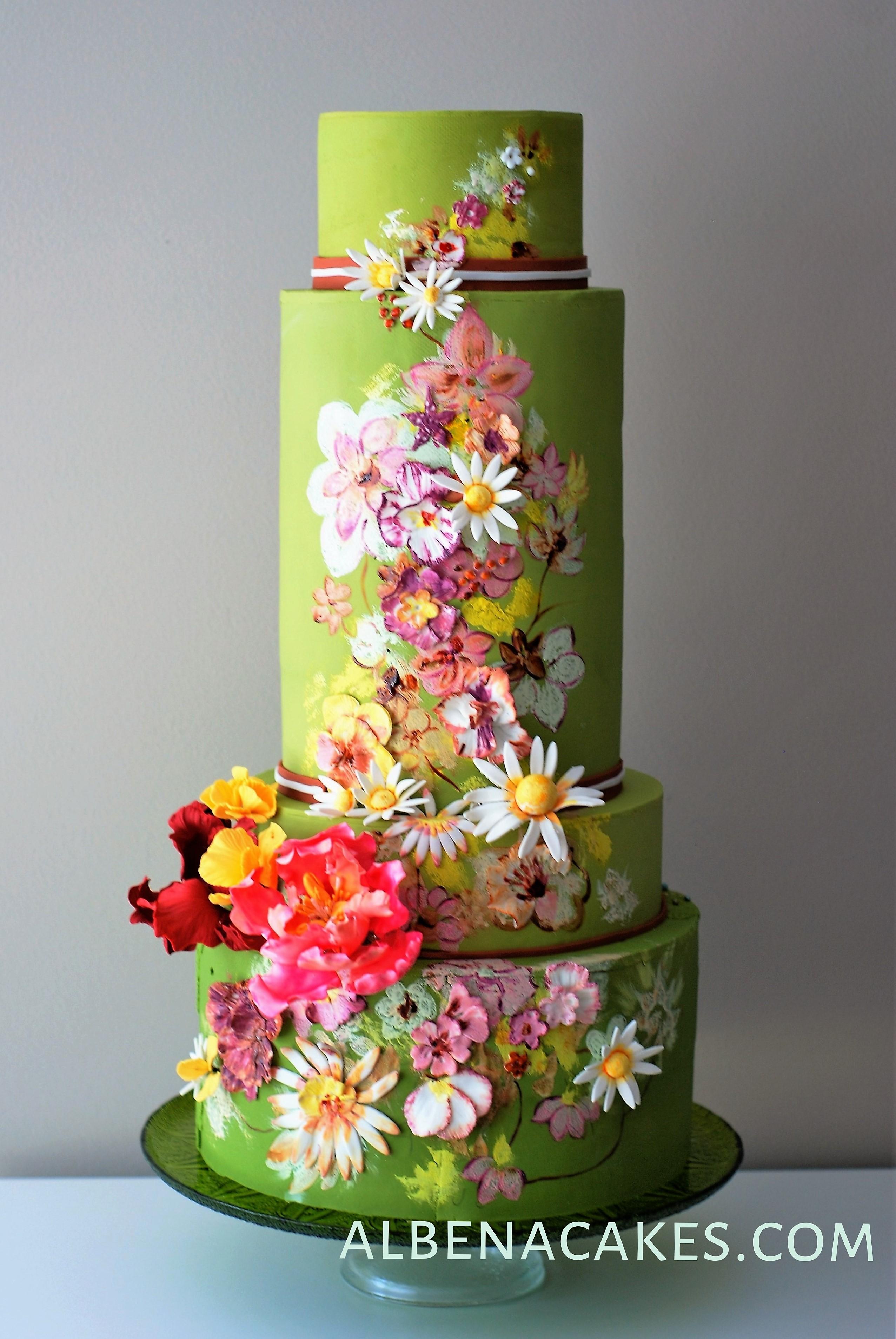 Bright Green Wedding with Sugar Flowers