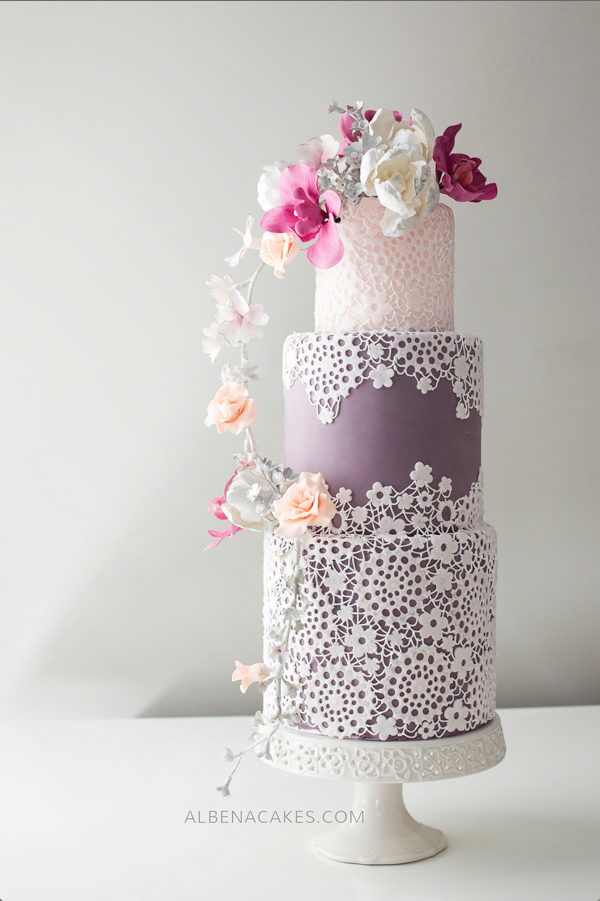 Purple and Lace Wedding Cake