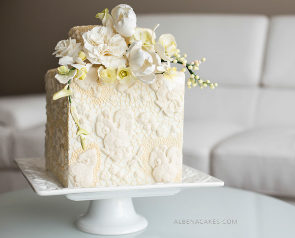 Ivory Square Cake with bas relief texture