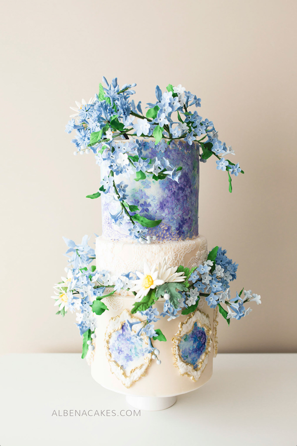Lilac Wedding Cake with hand painted flowers