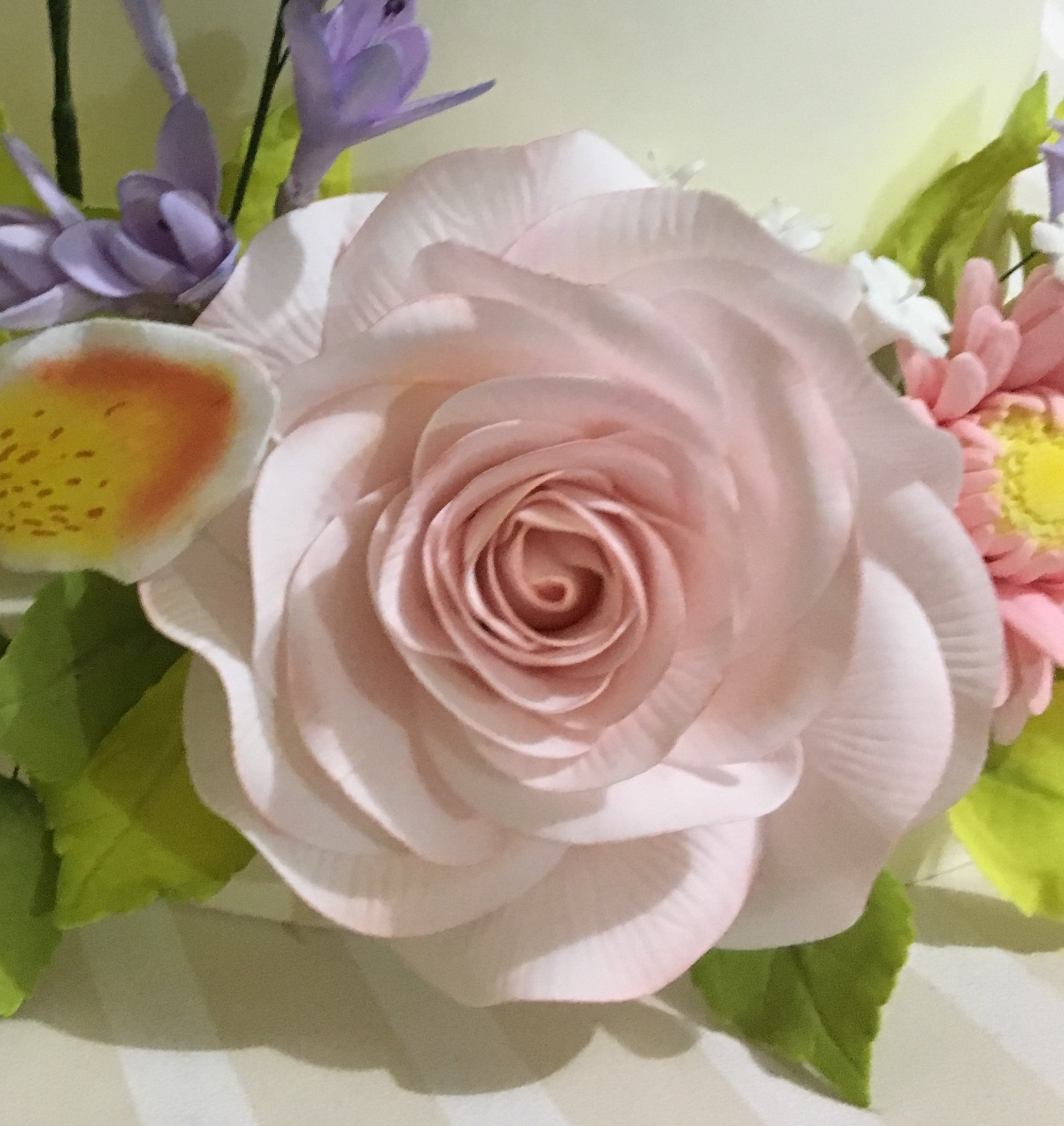 Blush pink gum paste sugar flower