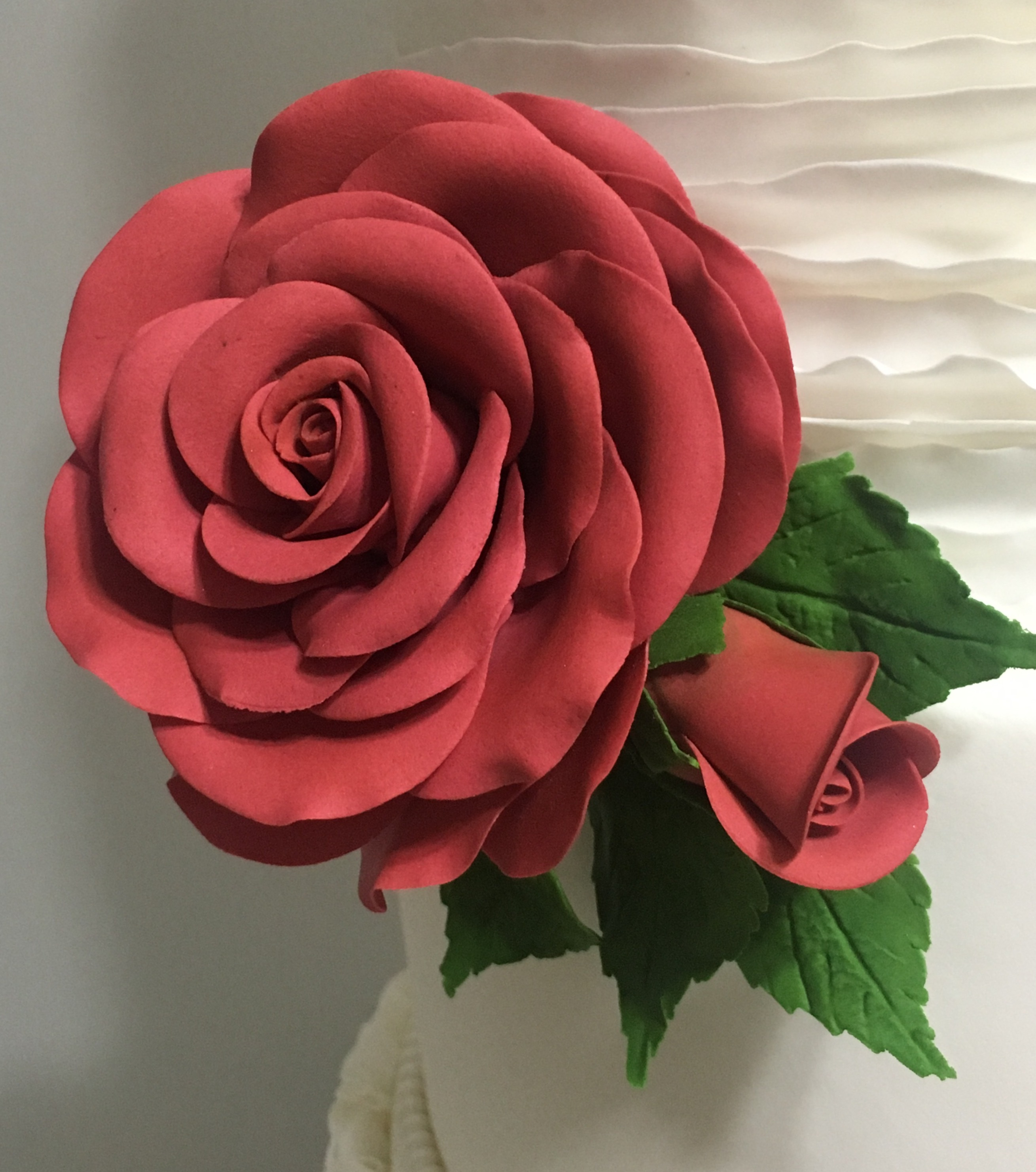 Big elegant gum paste red rose