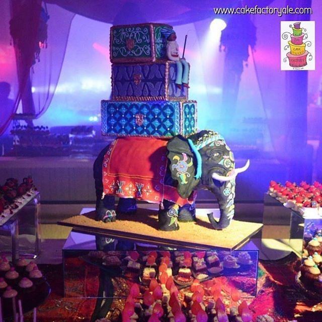 Bollywood elephant wedding cake